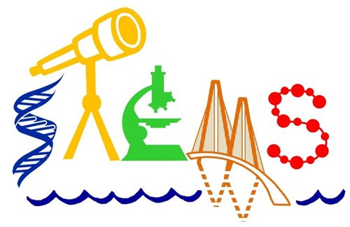 STEMS logo with DNA strand, telescope, microscope, bridge, and dots