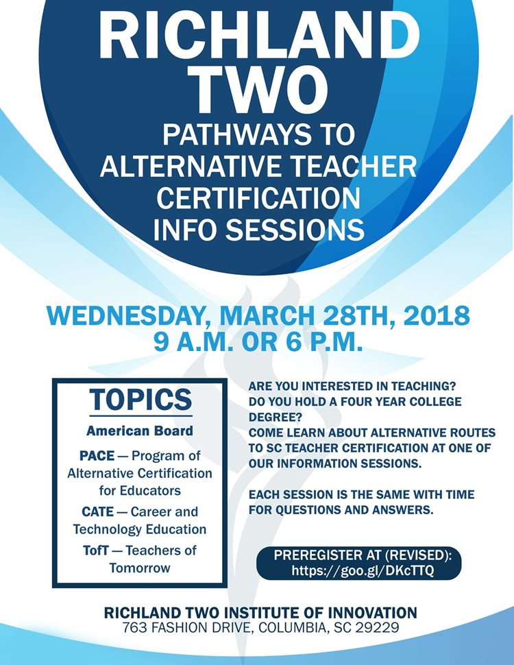 Richland School District Two Pathways To Alternative Teacher